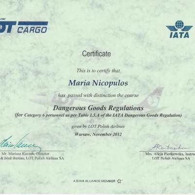 Certyfikat doradcy w transporcie lotniczym IATA DGR kat. 6, 2012<br><br/>