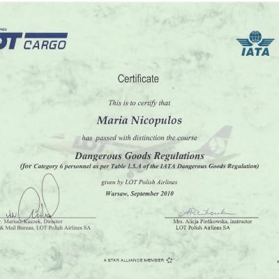Certyfikat doradcy w transporcie lotniczym IATA DGR kat. 6, 2010<br><br/>
