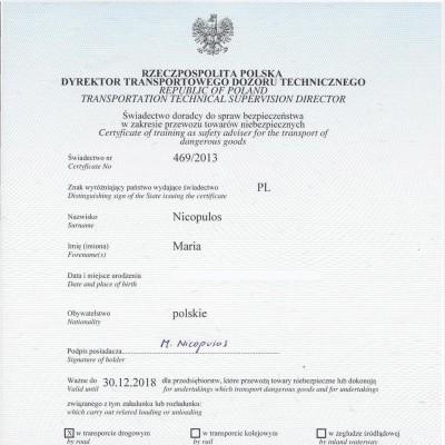Świadectwo doradcy ds. bezpieczeństwa w zakresie przewozu towarów niebezpiecznych w transporcie drogowym, świadectwo nr 469/2013