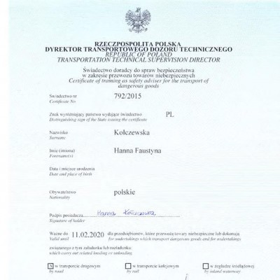 Świadectwo doradcy ds. bezpieczeństwa w zakresie przewozu towarów niebezpiecznych w transporcie drogowym, świadectwo nr 792/2015