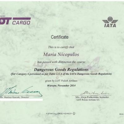 Certyfikat doradcy w transporcie lotniczym IATA DGR kat. 6, 2014<br><br>