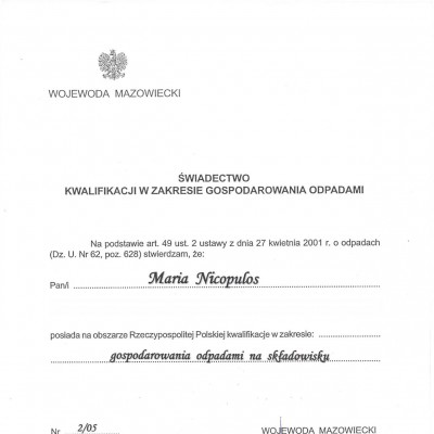 Świadectwo kwalifikacji w zakresie gospodarowania odpadami – Nr 2/05<br/><br/>