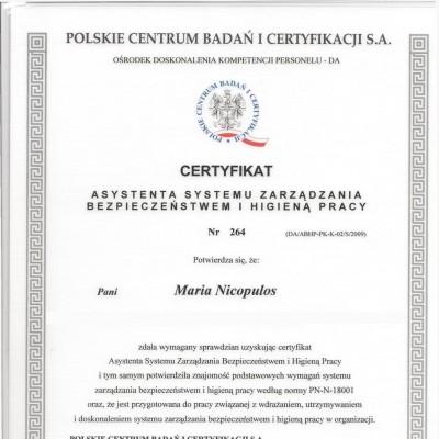 Certyfikat asystenta systemu<br> zarządzania BHP<br><br><br>